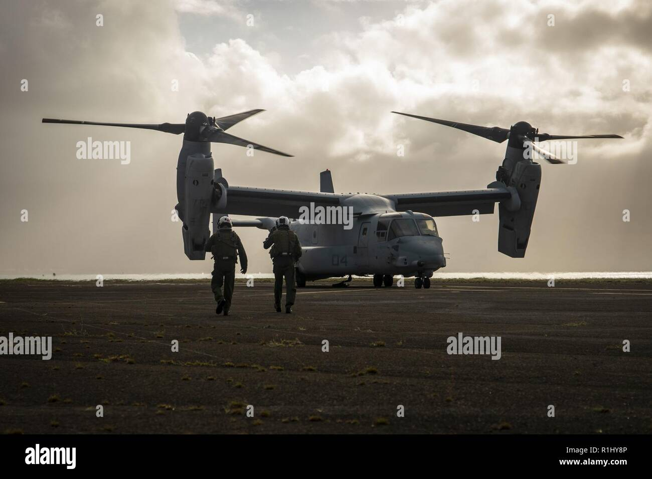 U.S. Marines with Marine Medium Tiltrotor Squadron 363 (VMM-363) walk toward their MV-22B Osprey helicopter in preparation for a helicopter support team (HST) exercise at Landing Zone Westfield, Marine Corps Base Hawaii, Sept. 20, 2018.The HST exercise provides training to landing support specialists with CLB-3 and VMM-363 pilots more proficient in the insertion and extraction of objects in restrictive terrain. Stock Photo