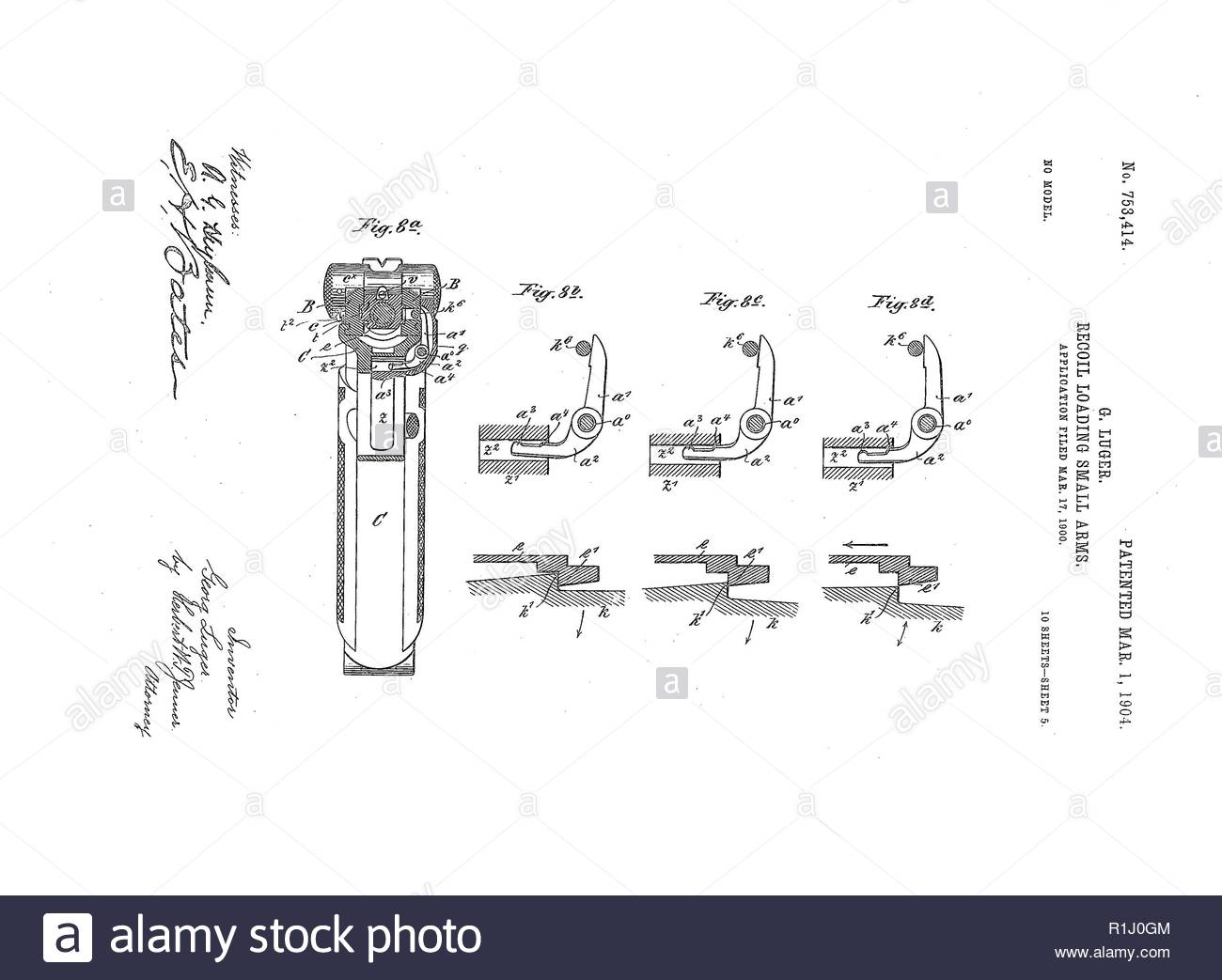 Luger - Parabellum pistol 10/7 - Stock Image