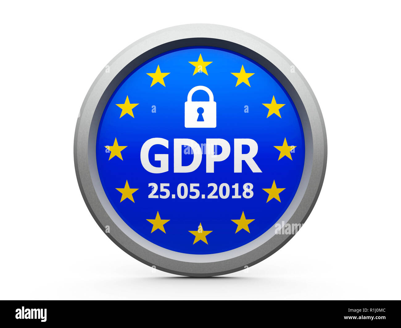 Emblem of flag of European Union  with text - The Twenty Fifth of May - and symbol of padlock - represents the Implementation date 2018 of GDPR - Gene - Stock Image