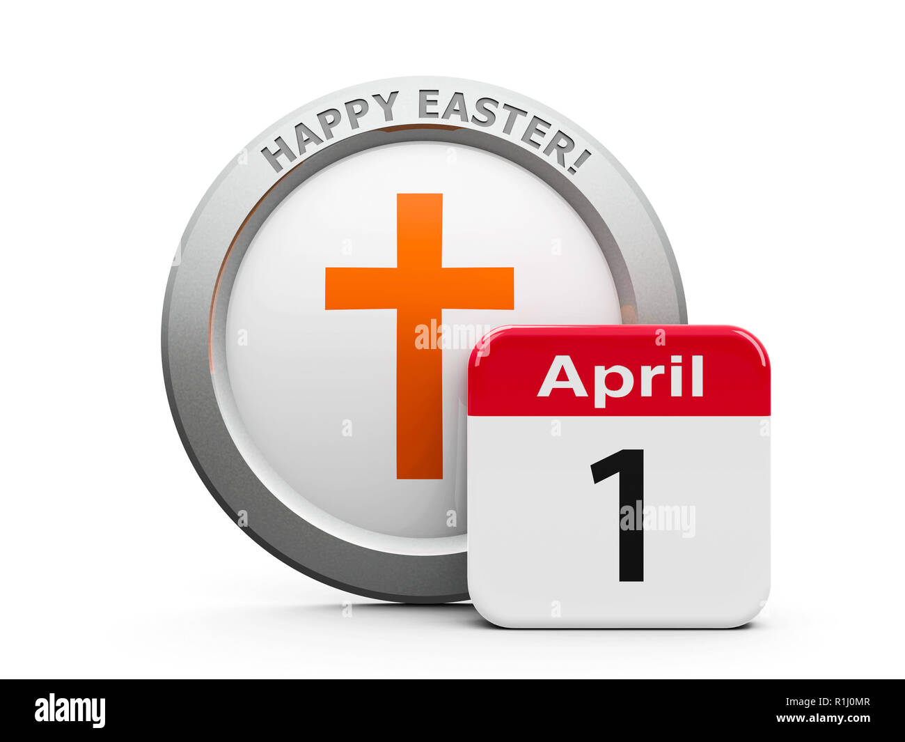 Emblem of cross with calendar button - The First of April - represents Happy Easter 2018, three-dimensional rendering, 3D illustration Stock Photo