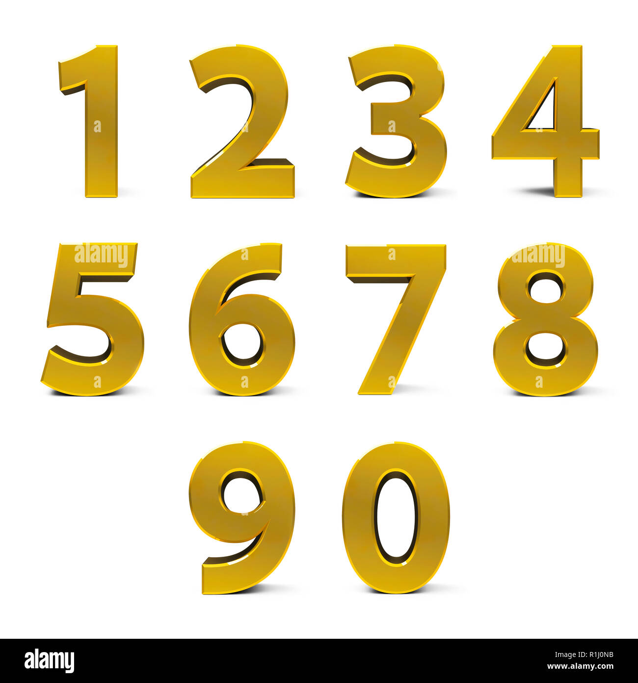 Gold numbers set from 0 to 9 isolated on white background, three-dimensional rendering, 3D illustration - Stock Image