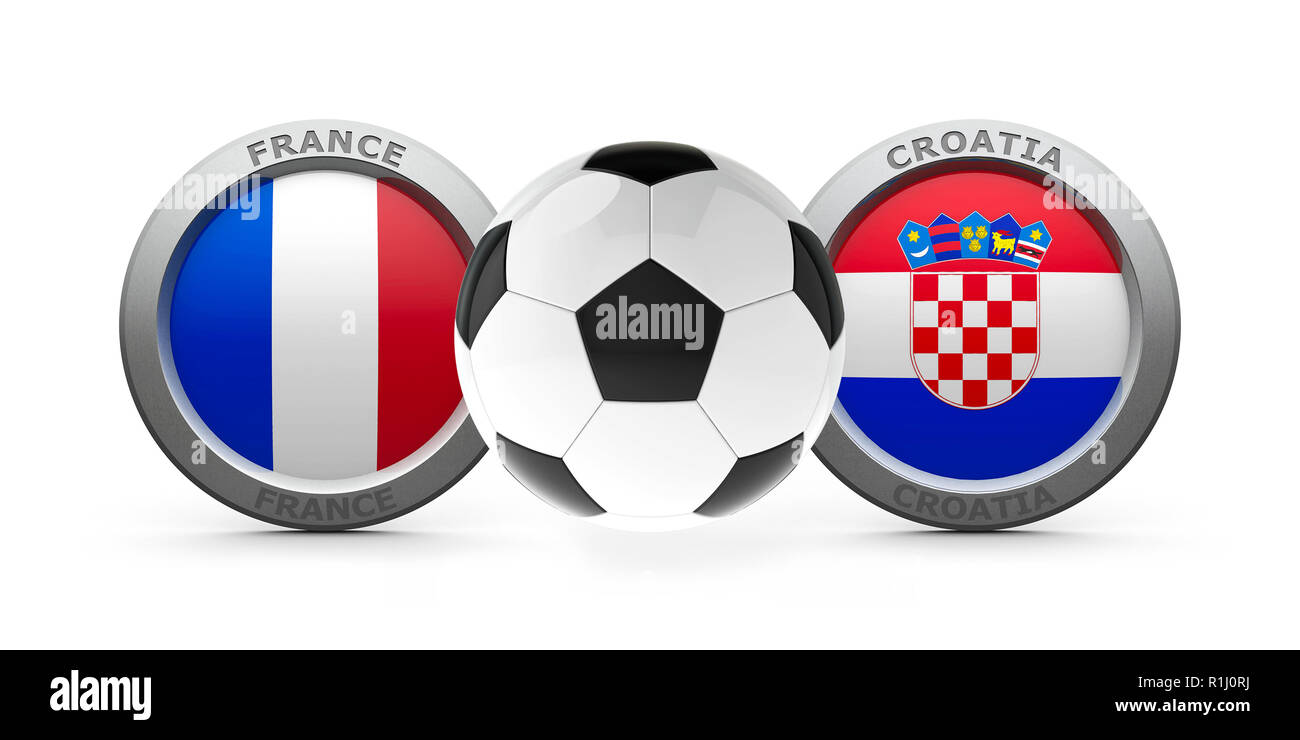Emblems - Flags of France and Croatia with football - isolated on white, represents final World Cup 2018, three-dimensional rendering, 3D illustration - Stock Image