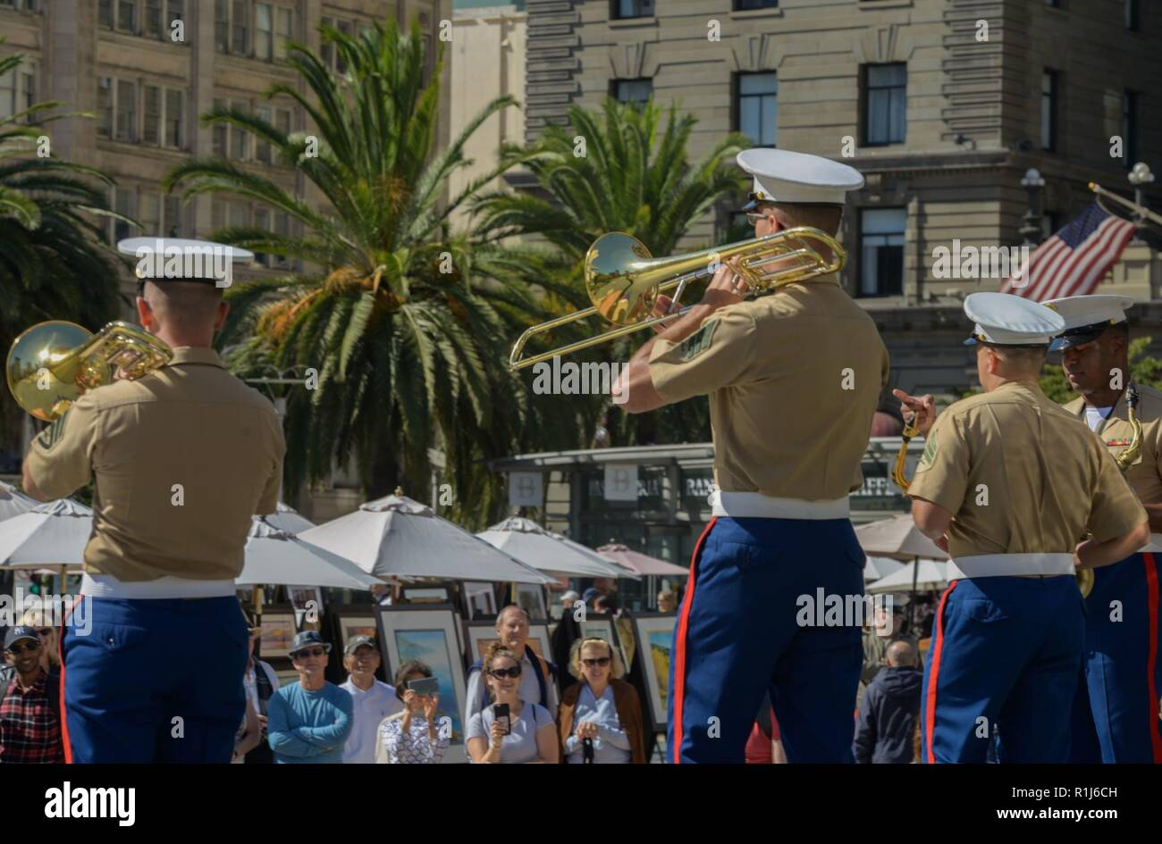 Members of the 1st Marine Division Band's party band
