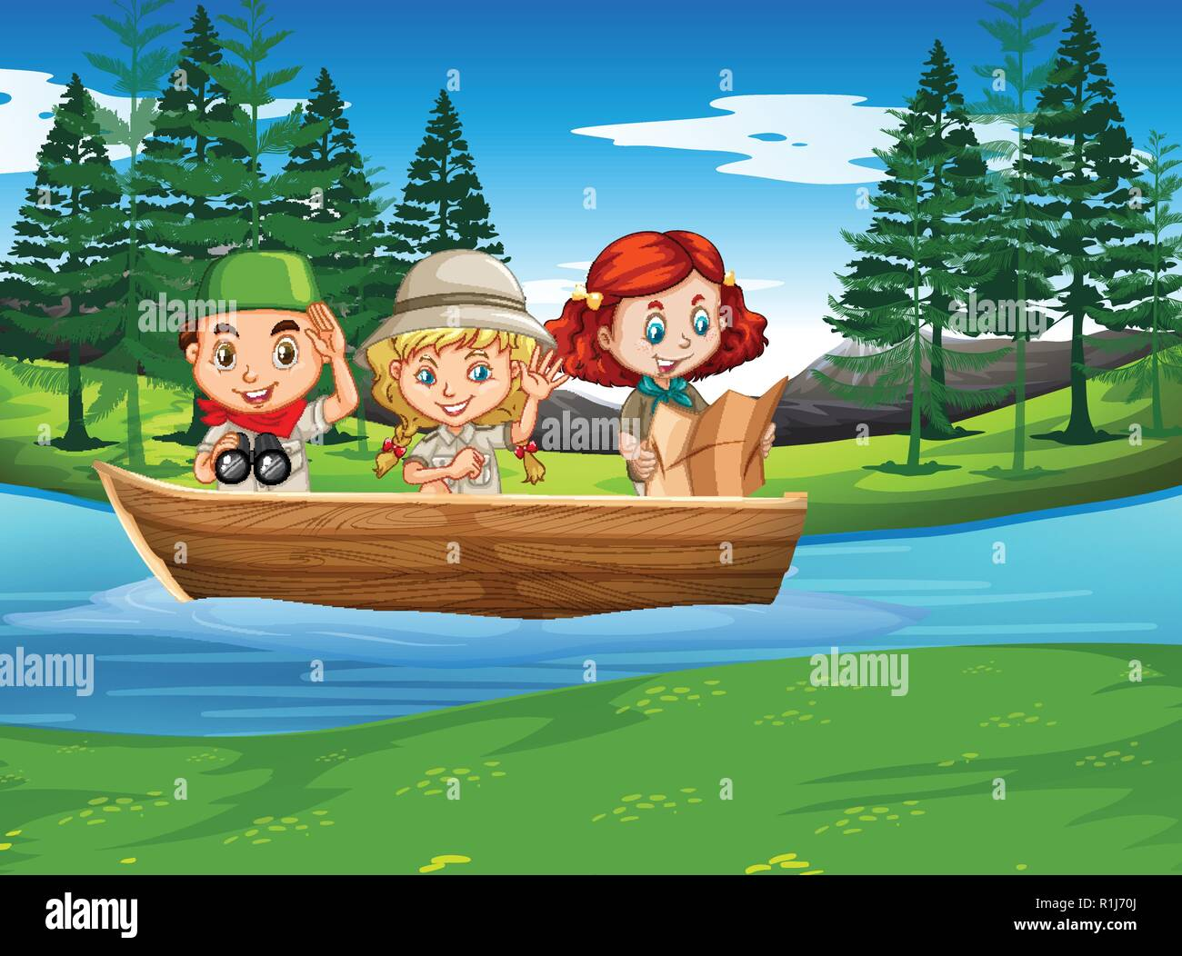 Camping boy and girl exploring nature illustration - Stock Vector