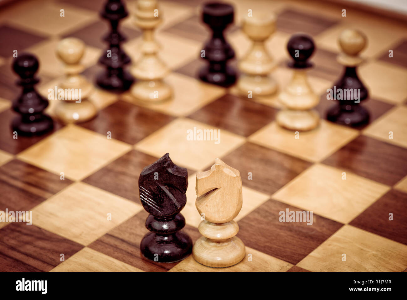 Black and white chess pieces on chessboard - Stock Image