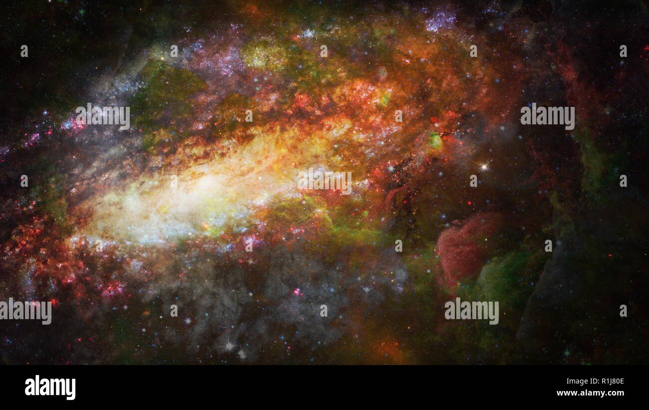 Nebula and galaxy in space. Science art. Elements of this image furnished by NASA. - Stock Image