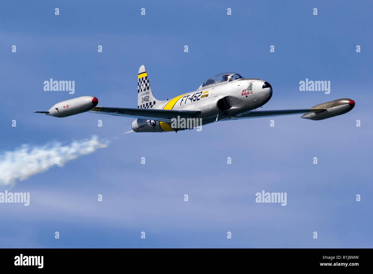 Greg Colyer pilots his Canadair CT-133 Shooting Star during the 2018 San Francisco Fleet Week air show. The Canadair CT-133 Shooting Star was develope - Stock Image