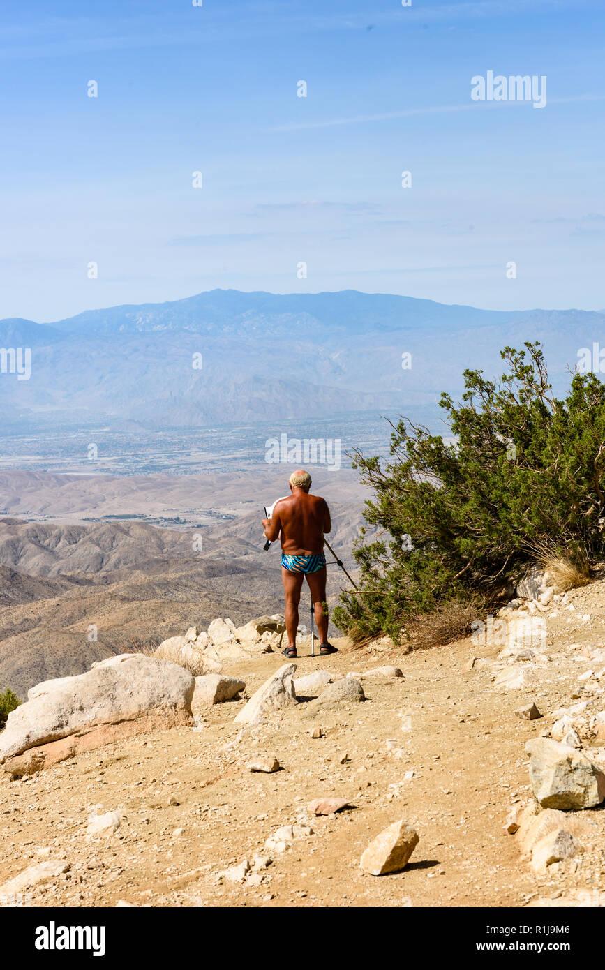 Twentynine Palms, CA-July 15, 2018: Sightseer takes photos at Keys View, overlooking the Coachella Valley at Joshua Tree National Park, California - Stock Image
