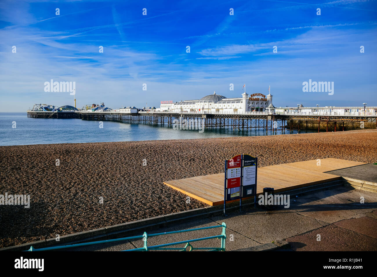 Scenic view of Brighton Palace Pier, one of the most popular tourist attraction in the seaside town of Brighton in England, United Kingdom Stock Photo