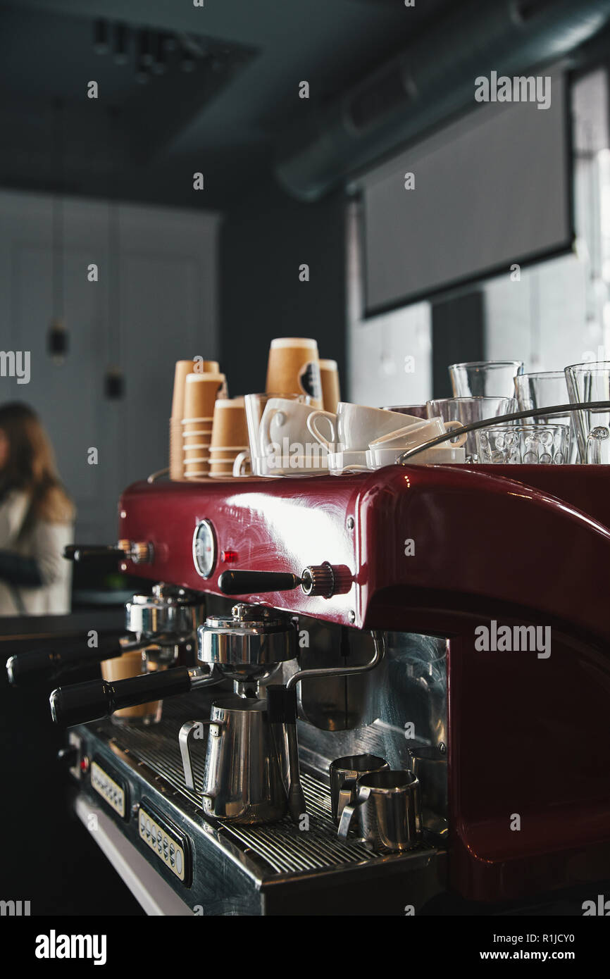 professional coffee machine with tools in coffeehouse - Stock Image