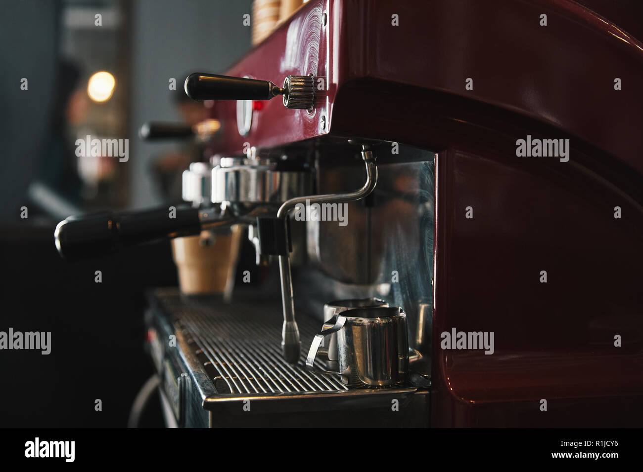close-up view of professional coffee machine in coffeehouse - Stock Image
