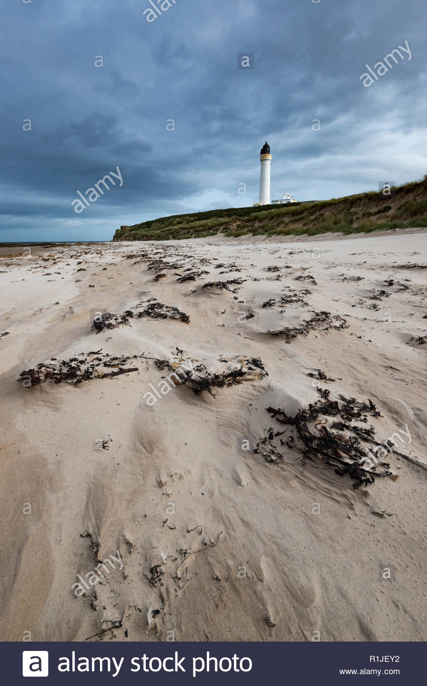 Gloomy mood over the Scottish coast, Lossiemouth, Moray Firth, Scotland, United Kingdom - Stock Image