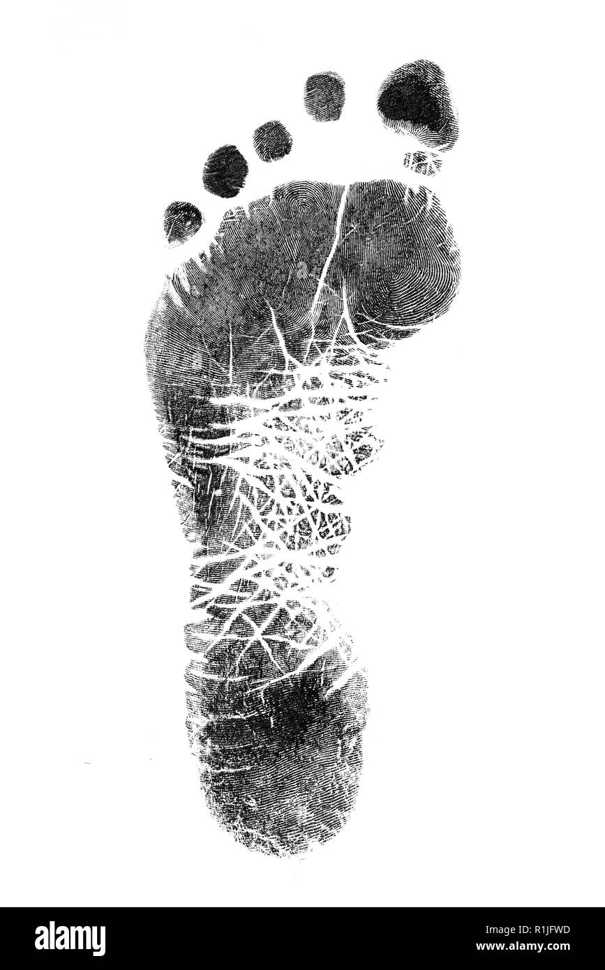 Black prints of feet on transparent paper. Black footprint. Isolated on white. - Stock Image