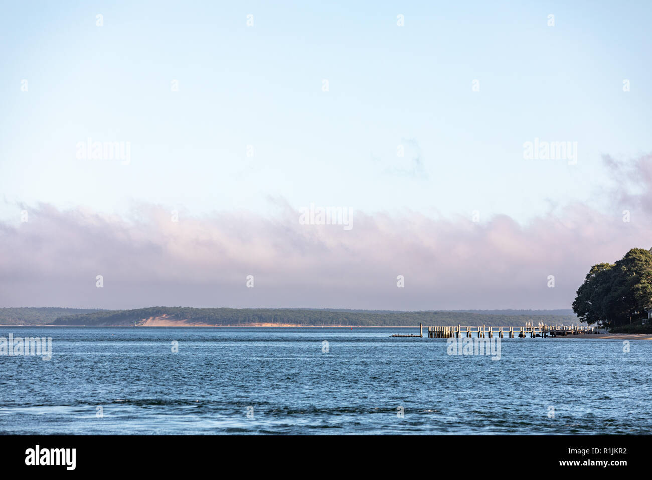 landscape with water featuring parts of the Peconic River, Sag Harbor Bay, North Haven, East Hampton and a dock - Stock Image