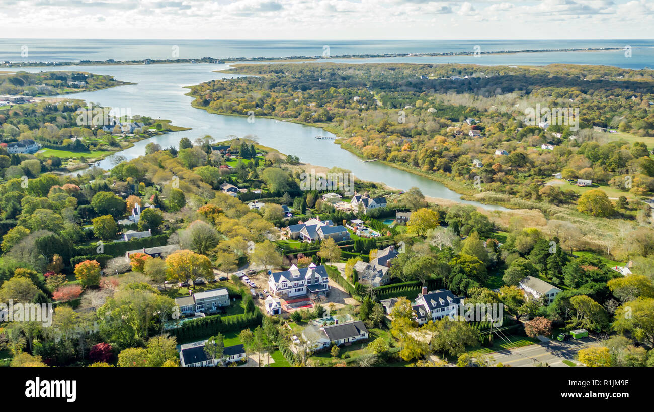 aerial view of Southampton, specifically heady creek and the Shinnecock Indian Reservation in Southampton, NY - Stock Image