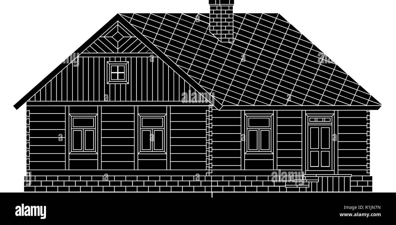 Rural house from processed logs. Angle connections with square logs. Vector illustration. Black silhouette. - Stock Vector