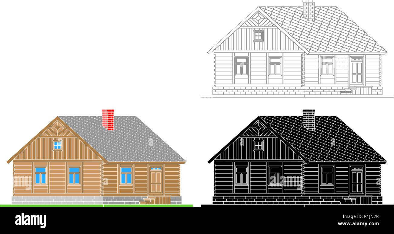 Rural house from processed logs. Angle connections with square logs. Vector illustration. White , black , color  silhouette. - Stock Vector