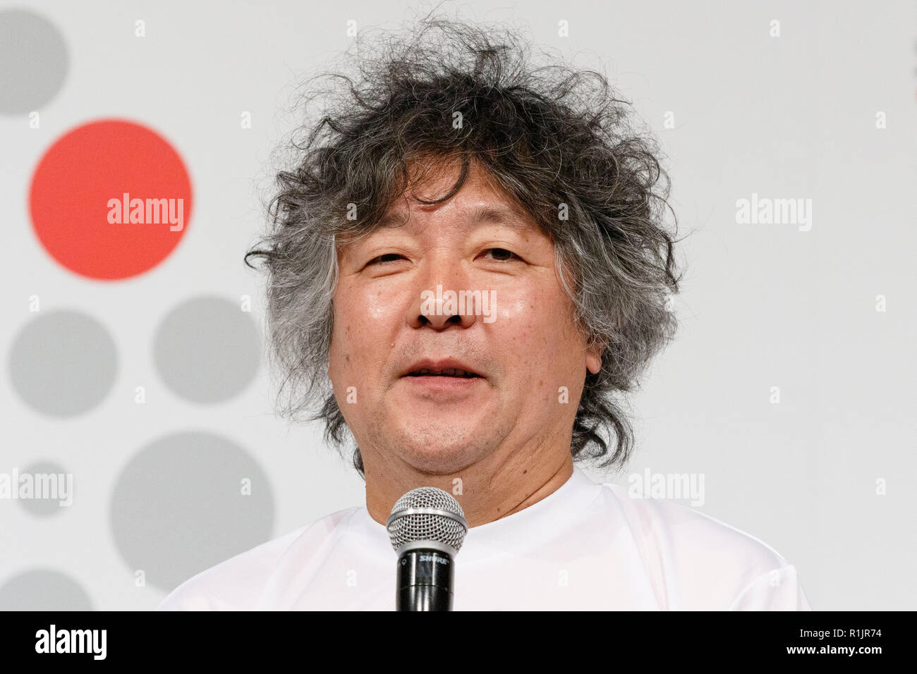 Japanese scientist Ken Mogi speaks during a news conference to announce a new project ''JAAF RunLink'' by the Japan Association of Athletics Federations on November 13, 2018, Tokyo, Japan. (Photo by Rodrigo Reyes Marin/AFLO) - Stock Image