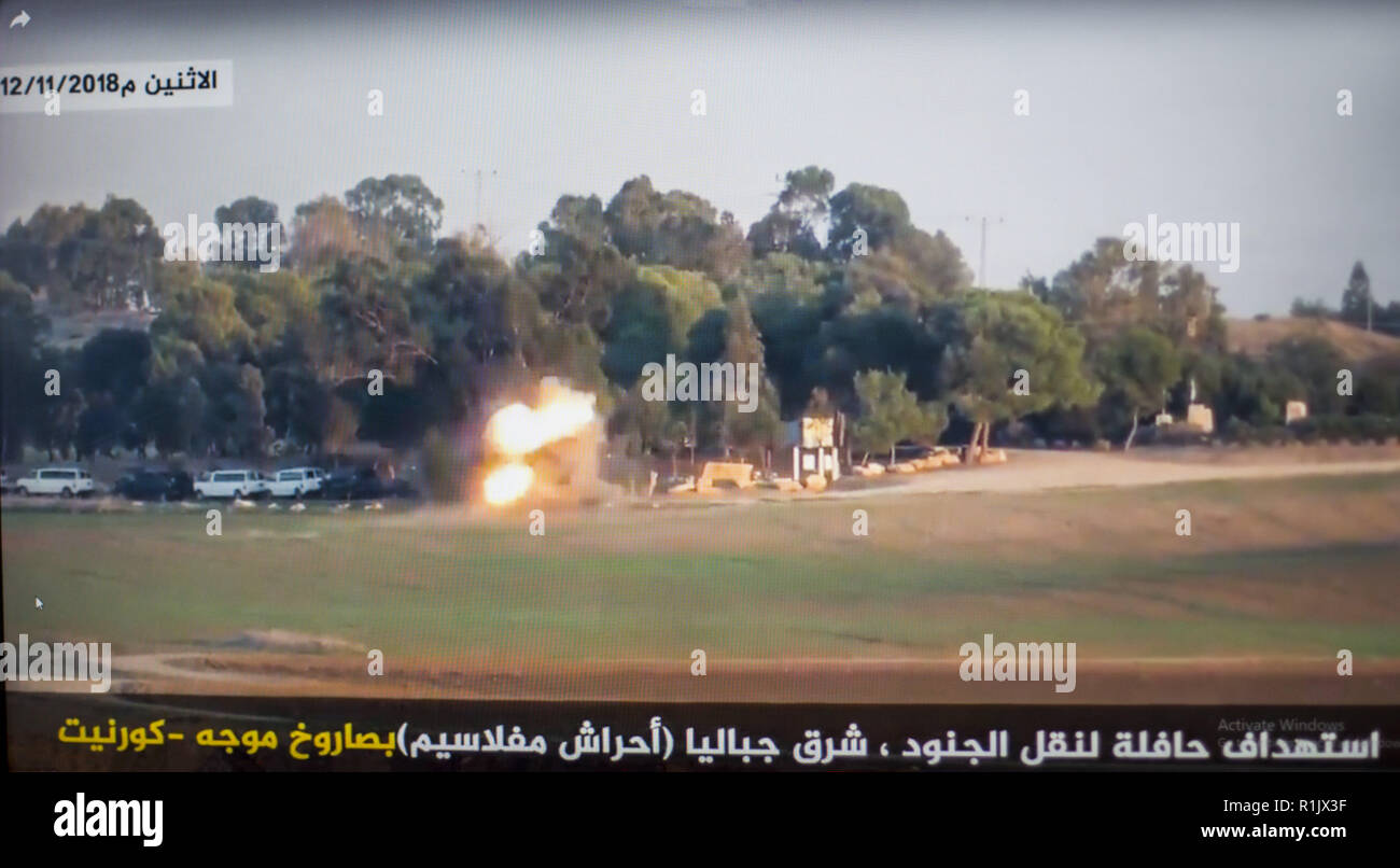 Gaza City, The Gaza Strip, Palestine. 13th Nov, 2018. A still image taken  from a video published by Hamas appears to show an Israeli army bus being  hit by a ...