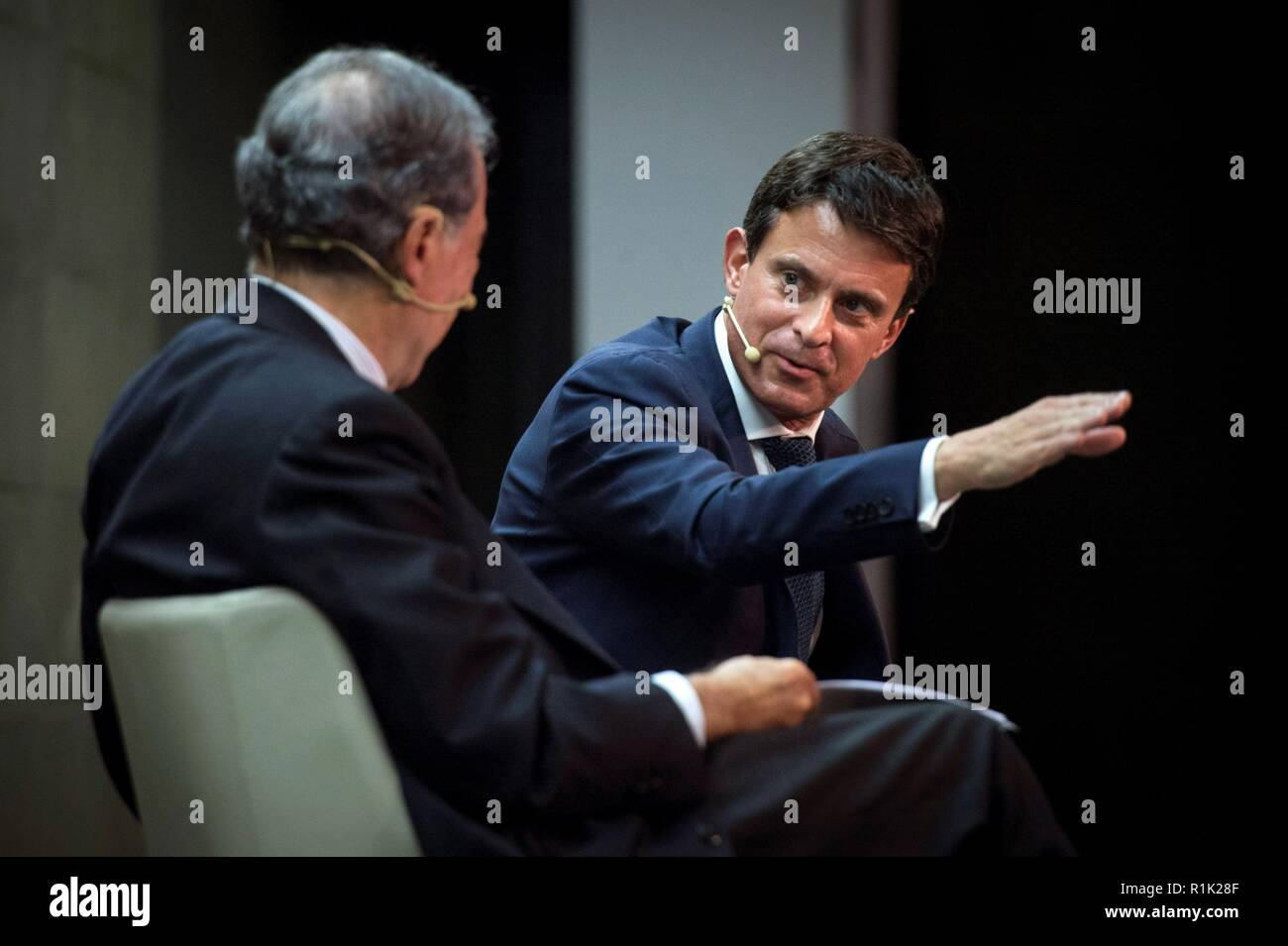 Madrid, Spain. 13th Nov, 2018. Barcelona 2019 city hall candidate and former Prime Minister of France Manuel Valls (R) and businessman and academician Gregorio Maranon y Bertran de Lis (L) take part in the talks 'The citizen environment in the 21st century. A cosmopolitan, prosperous and safe Barcelona', organized by the Rafael del Pino Foundation, in Madrid, Spain, 13 November 2018. Credit: Luca Piergiovanni/EFE/Alamy Live News - Stock Image