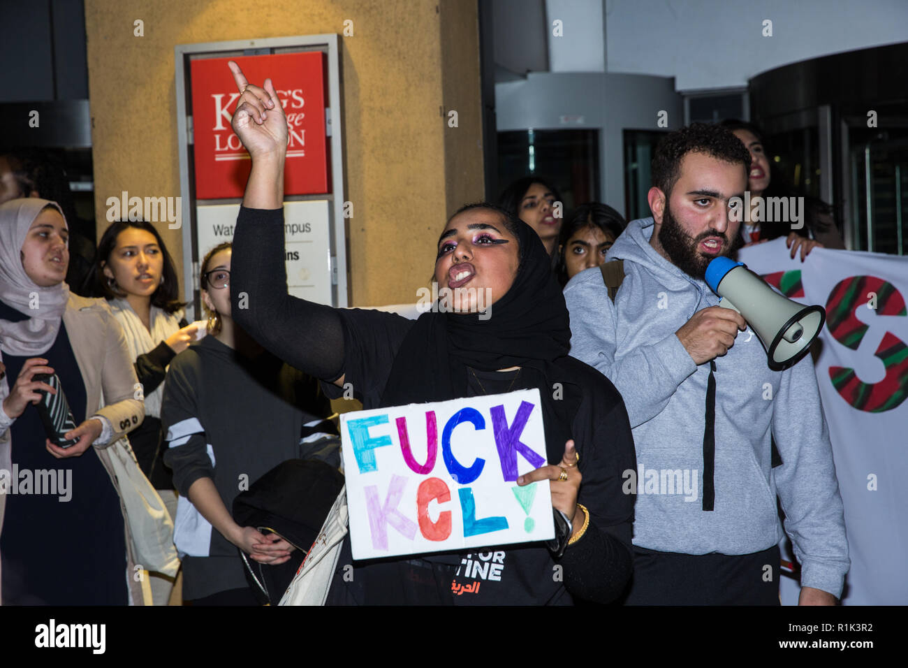 London, UK. 13th November, 2018. Students take part in a creative and non-violent Festival of Resistance organised in protest against a speech at King's College London (KCL) by Mark Regev, the Israeli Ambassador to the UK, against the consequent normalisation and legitimisation by KCL of Israel's oppression of the Palestinian people and against KCL's clampdown on student activism. Credit: Mark Kerrison/Alamy Live News Stock Photo