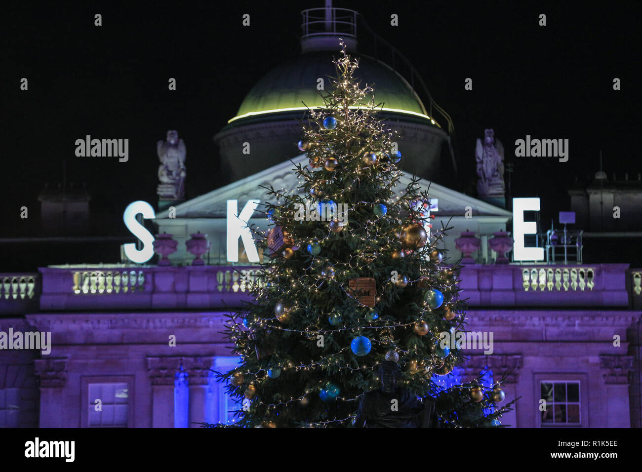 Somerset House, London, UK, 13th Nov 2018. Celebrity arrivals. Skate at Somerset House with Fortnum & Mason opens with an official launch party, as the popular ice rink returns within the historic setting of Somerset House for the ice skating sesason. The ice rink is open to the public from 14th Nov. Credit: Imageplotter News and Sports/Alamy Live News Stock Photo