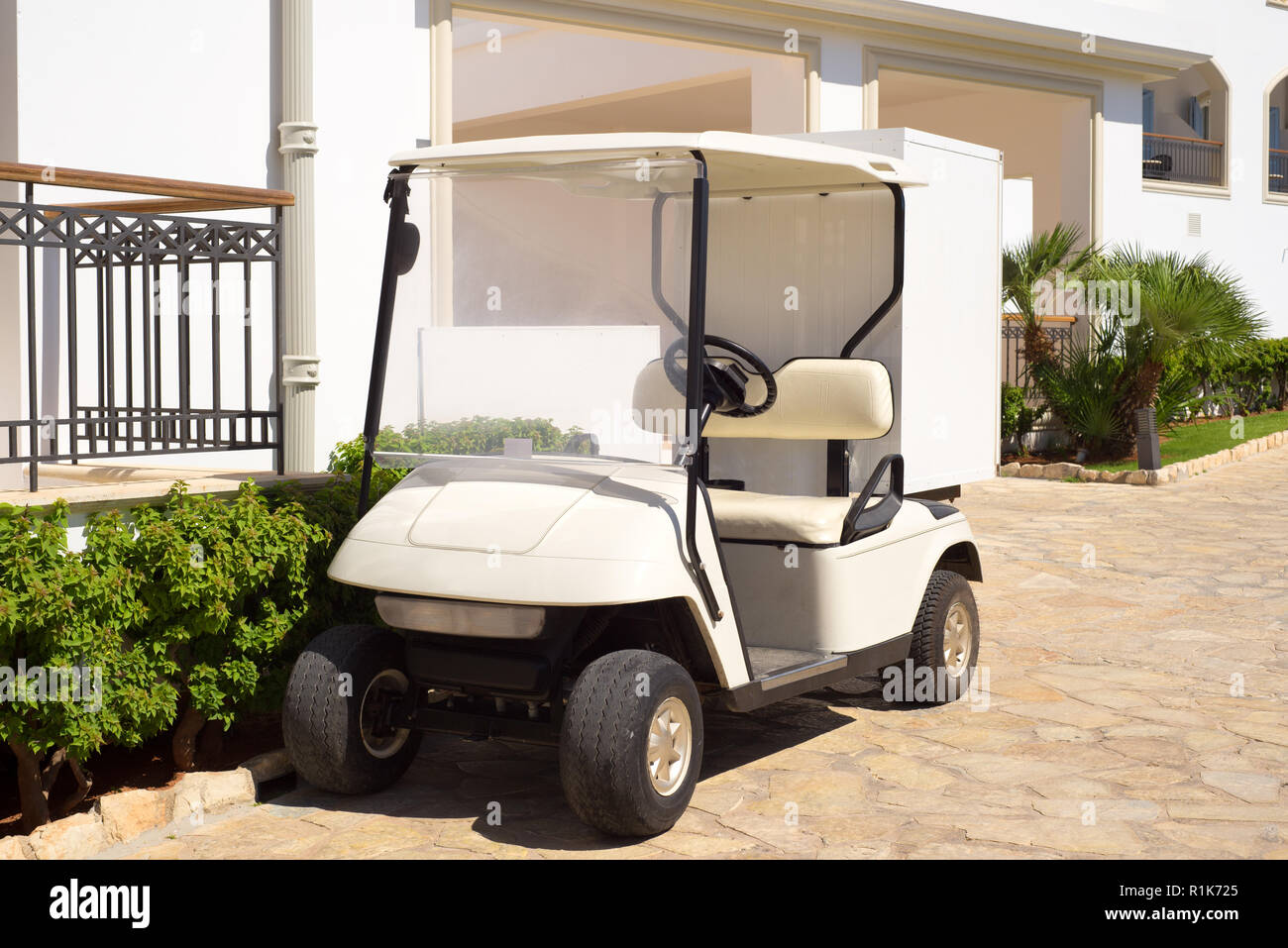Buggy car for luggage in a Greek resort - Stock Image