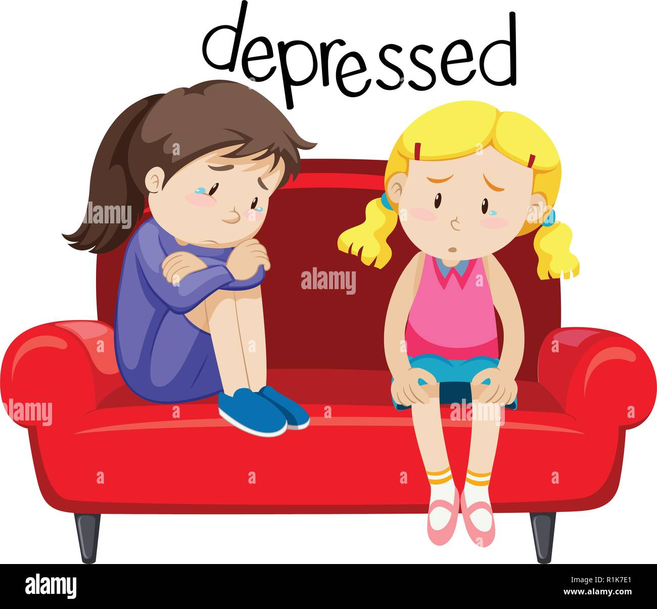 Two girls is depressing illustration - Stock Vector