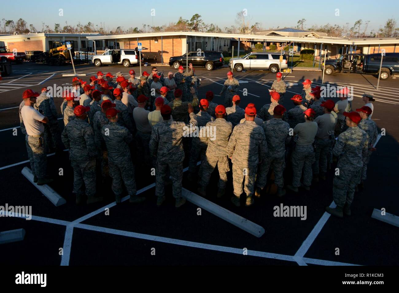 Florida Guardsmen from the 202nd REDHORSE assemble for the