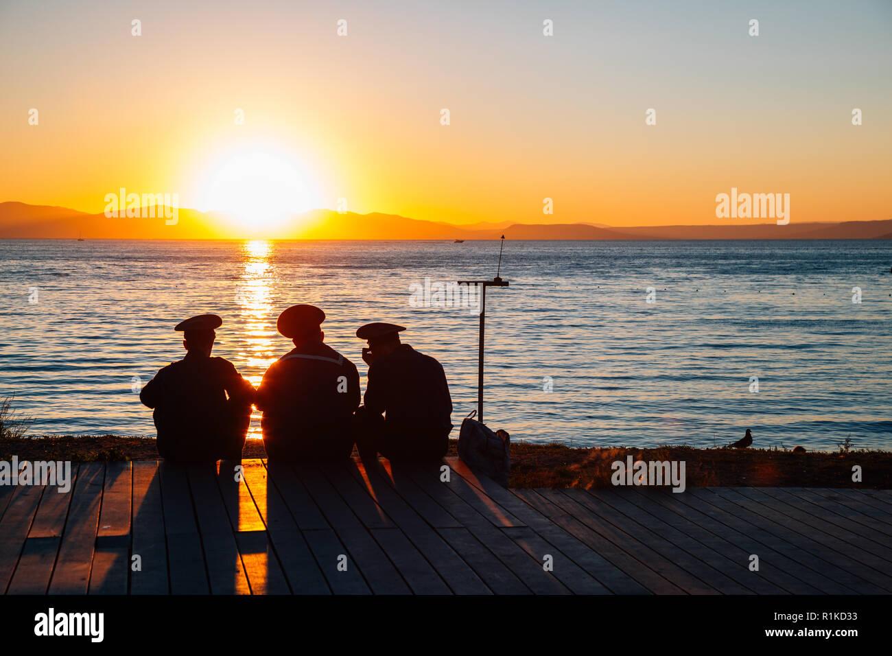 Vladivostok, Russia - September 16, 2018 : Sunset beach and sailor or navy - Stock Image