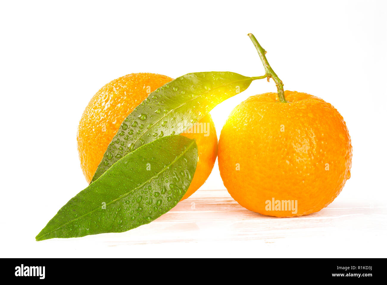 Tangerines with leaves and water drops on white wooden background, closeup with sunshine between the  both fruits and leaves - Stock Image