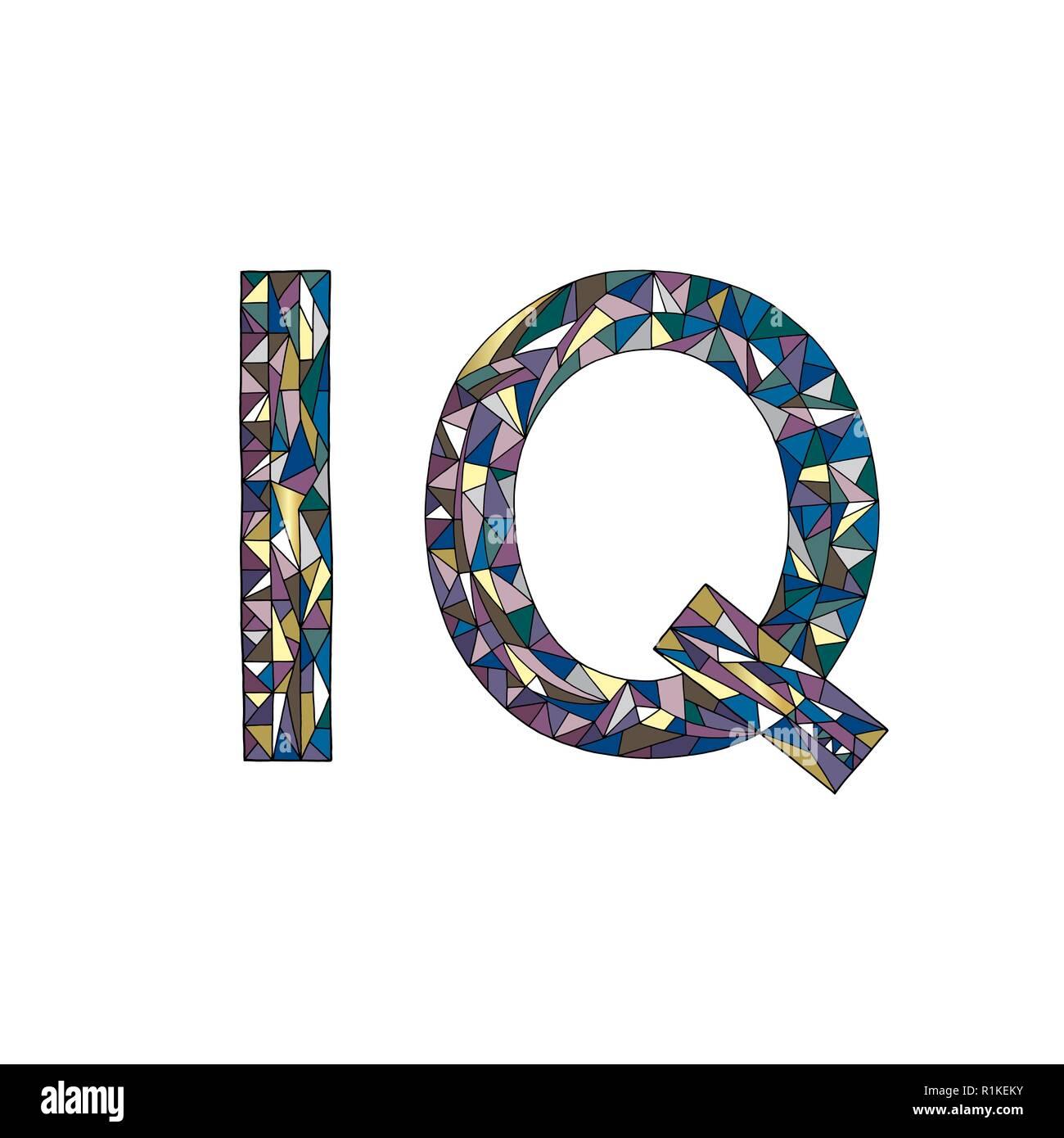 IQ hand drawn sign vector illustration. Intelligence quotient symbol - Stock Image