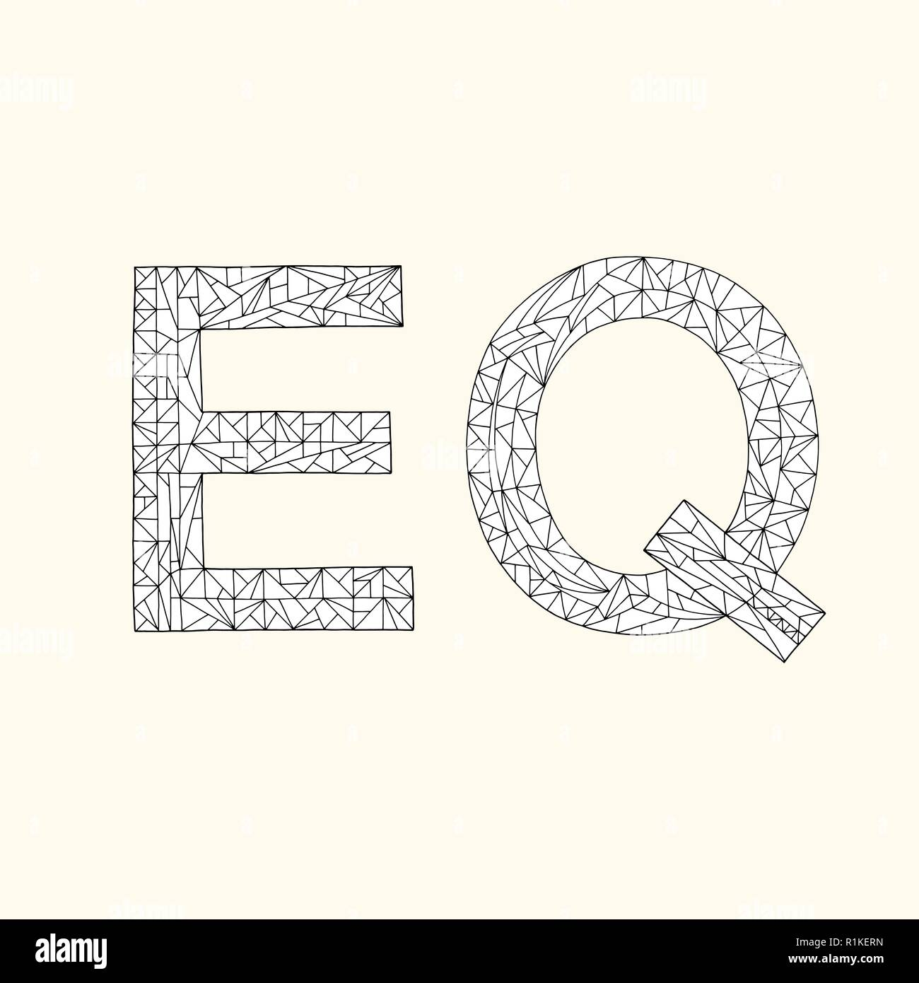 EQ hand drawn coloring book. Emotional quotient design vector background - Stock Image