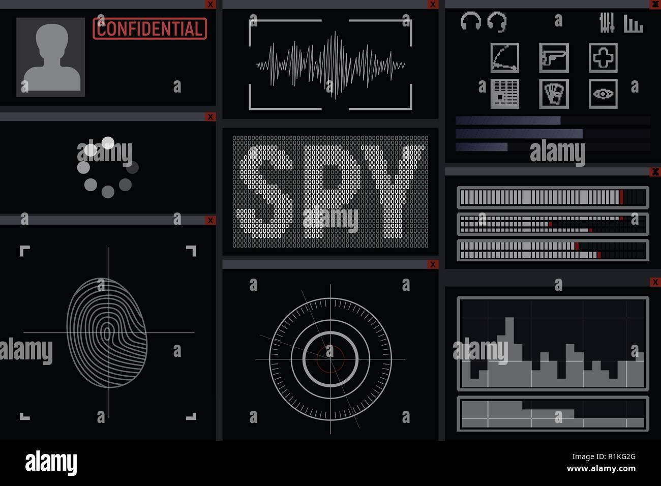 Program for the spy. Display vector illustration. hacker - Stock Vector