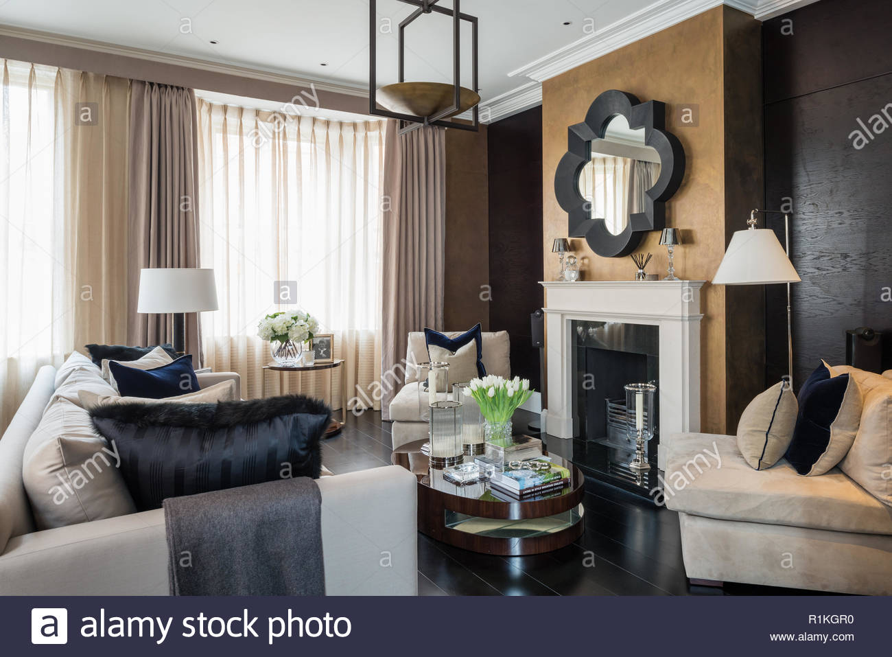 Masculine style living room with fireplace Stock Photo