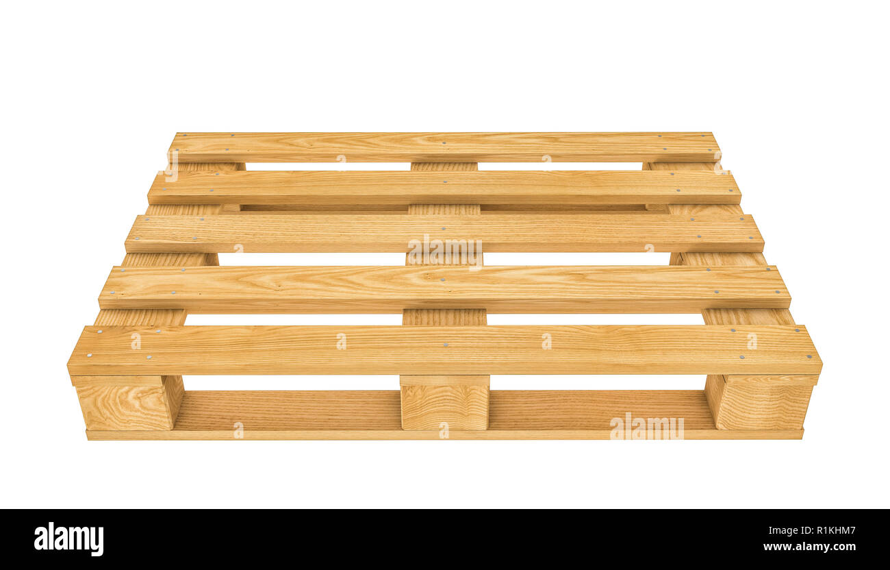 3d rendering of classic wooden pallet on white background - Stock Image