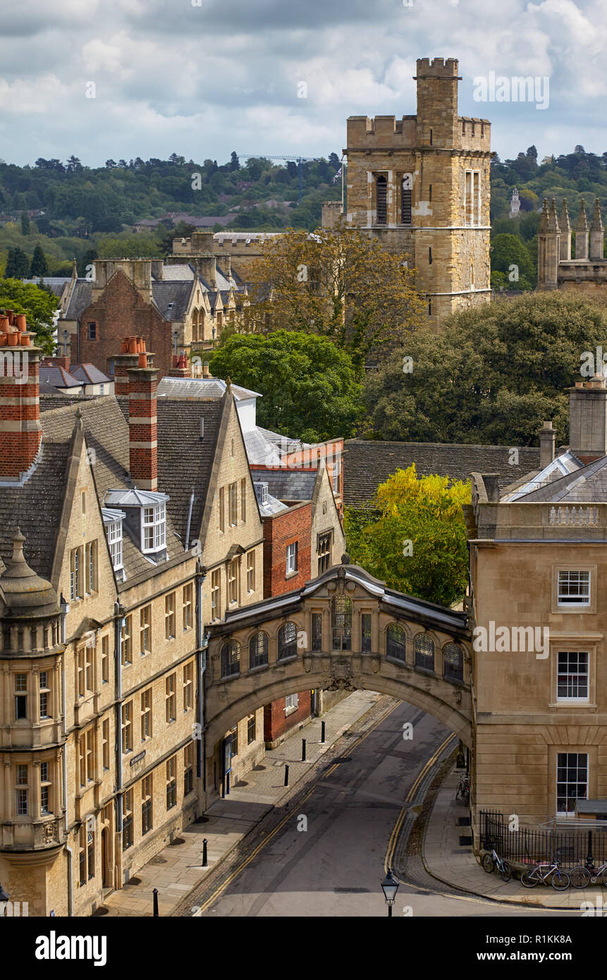 The view from the cupola of Sheldonian Theatre across the central Oxford, Hertford bridge and bell tower of New college. Oxford University. England - Stock Image