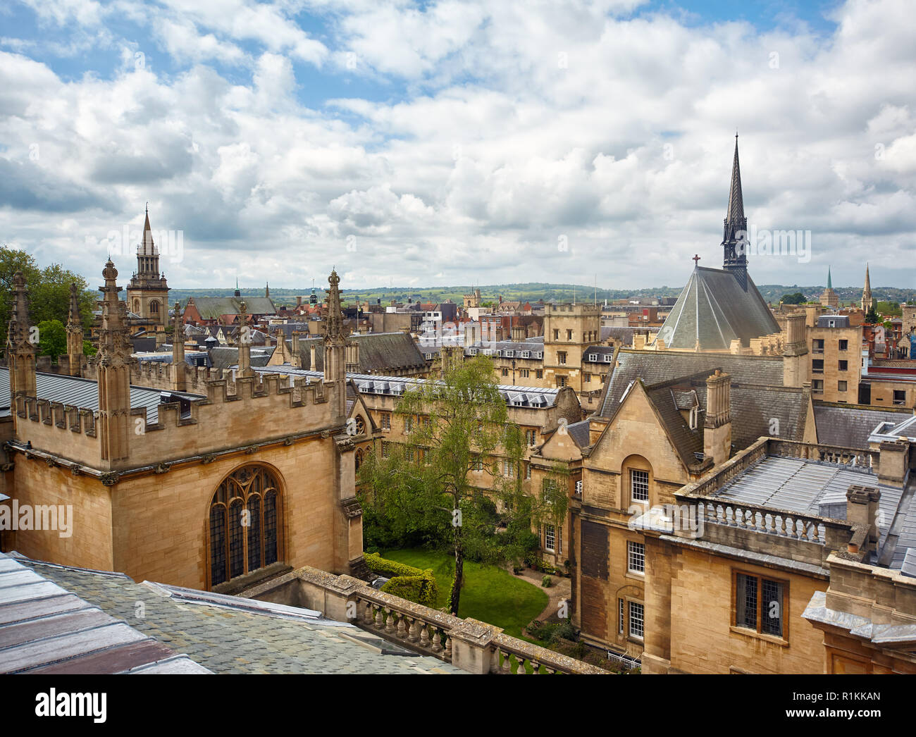 Exeter College chapel and the wing of Bodleian Library as seen from the cupola of Sheldonian Theatre. Oxford University. Oxford. England Stock Photo