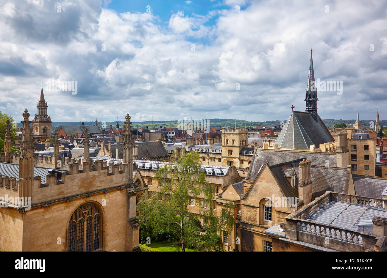 Exeter College church and the wing of Bodleian Library as seen from the cupola of Sheldonian Theatre. Oxford University. Oxford. England Stock Photo