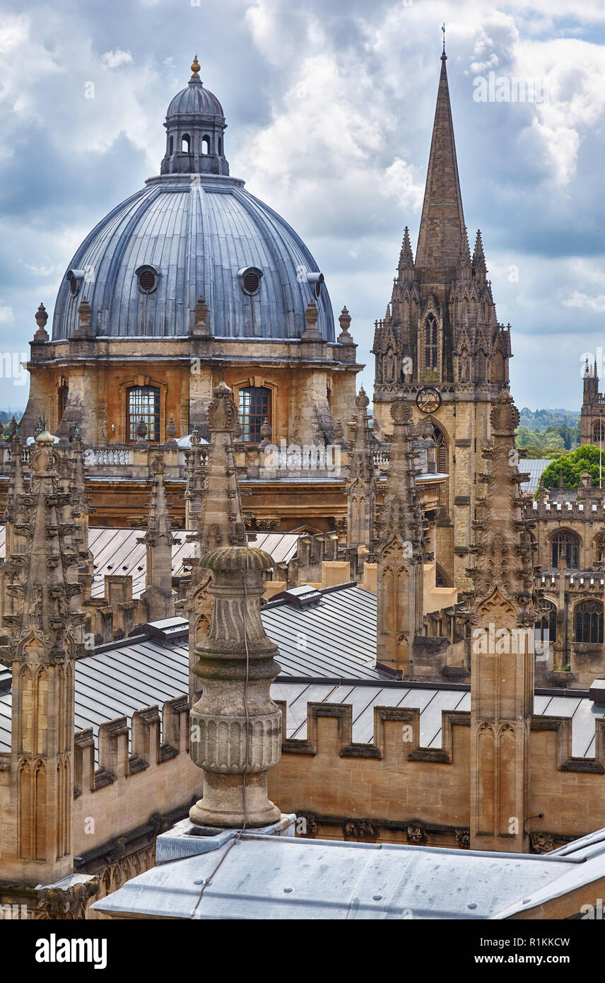 The view of Radcliffe Camera dome and the spire of University Church of St Mary the Virgin from the cupola of Sheldonian Theatre. Oxford University. E Stock Photo