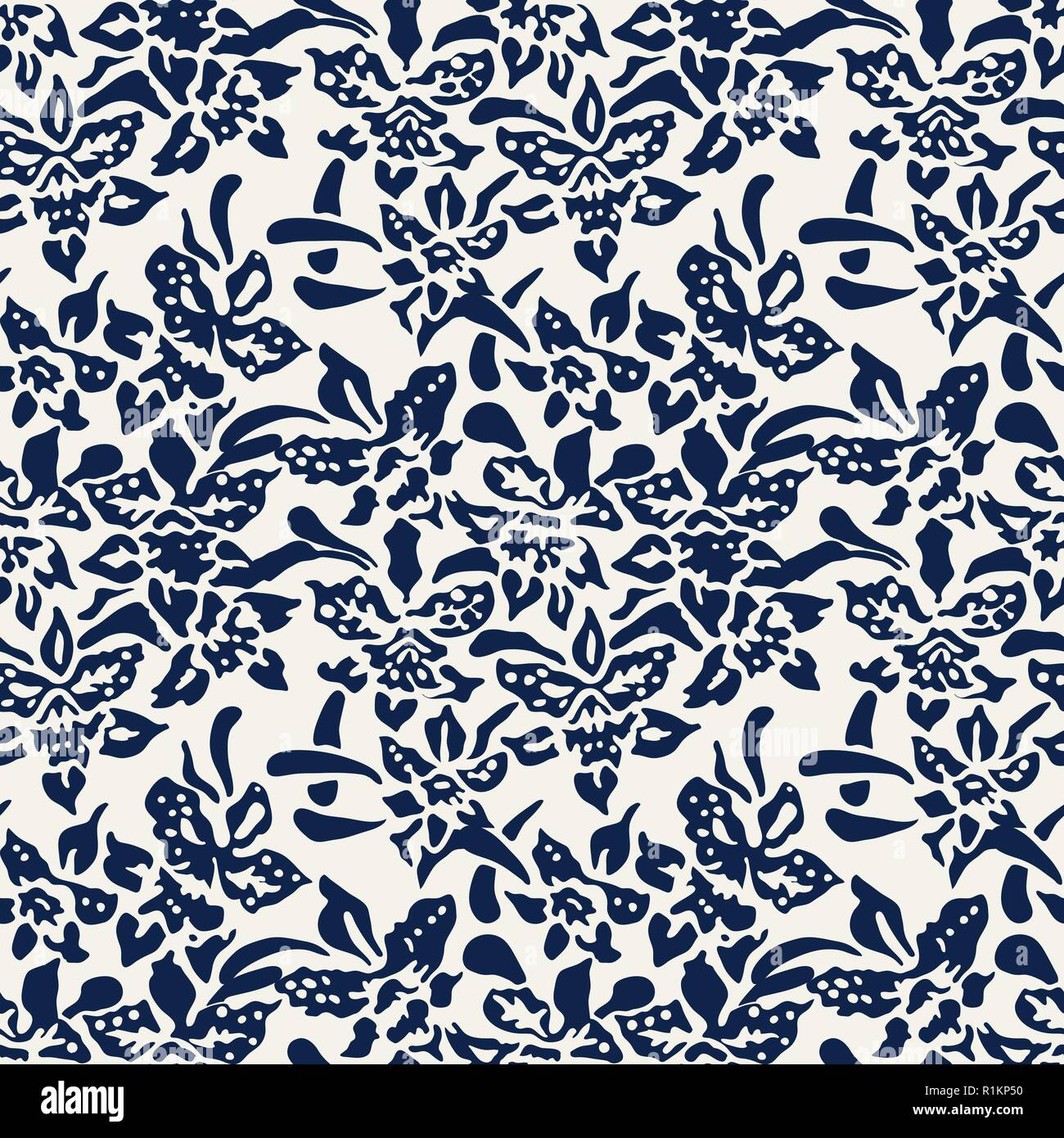 Seamless Indigo Dye Woodblock Printed Floral Pattern Traditional