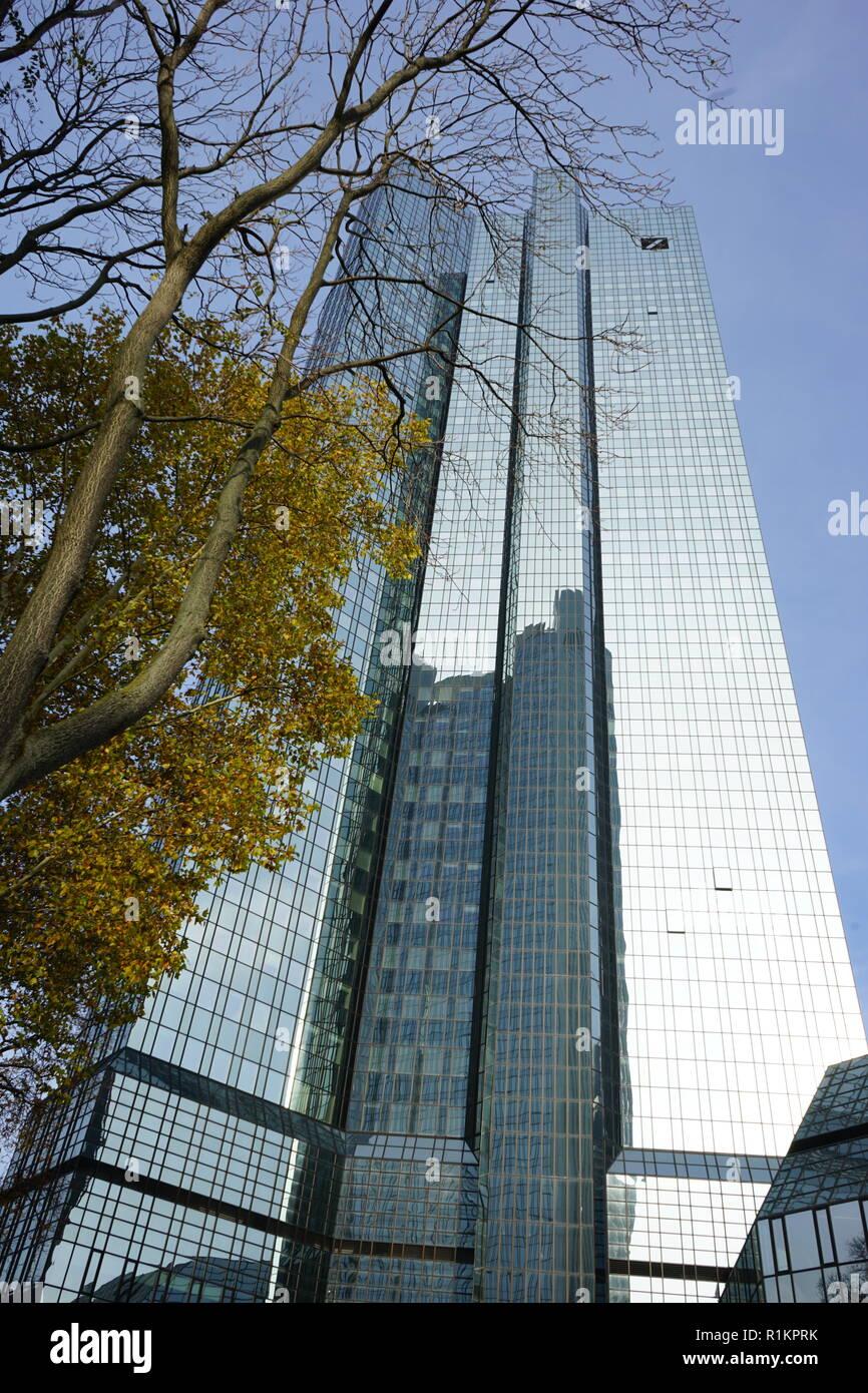 Deutsche Bank Twin Towers, Deutsche-Bank-Hochhaus, Deutsche Bank, Frankfurt, Germany - Stock Image
