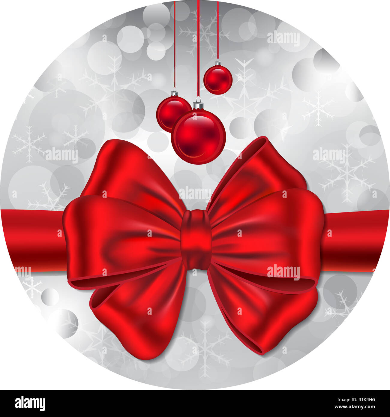 New Year Gift Card In Circle Shape Red Ribbon And Bow Christmas