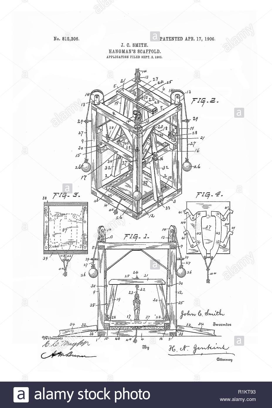 Hangman's scaffold -  original patent drawing Stock Photo