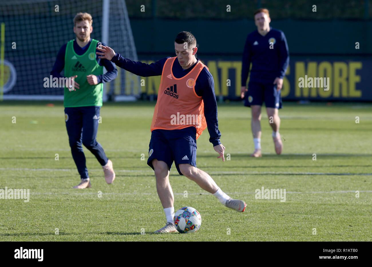 Scotland's Callum McGregor during the training session in Edinburgh. - Stock Image