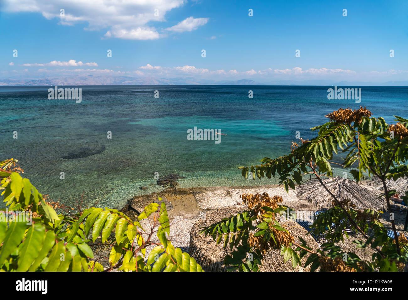 Küste bei Benitses, Insel Korfu, Griechenland  Europa | coast near Benitses, Corfu island, Greece, Europe - Stock Image