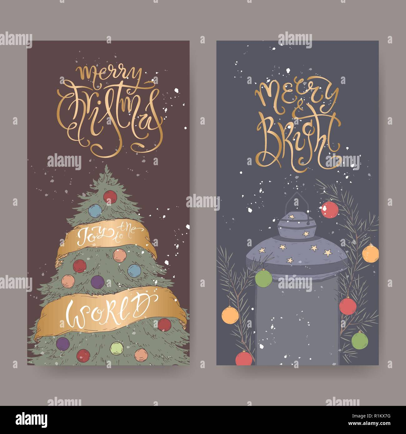 Set Of Two Color Banners With Christmas Brush Lettering Christmas Tree And Decorated Holiday Lantern Stock Vector Image Art Alamy