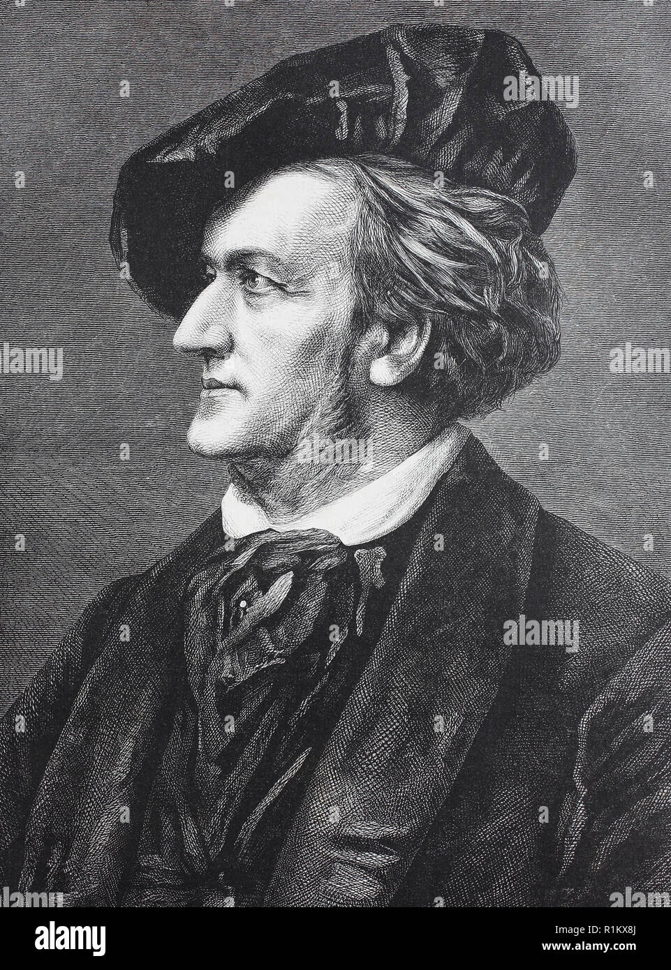 Digital improved reproduction, Wilhelm Richard Wagner, 1813-1883, was a German composer, theatre director, polemicist, and conductor who is chiefly known for his operas - Stock Image