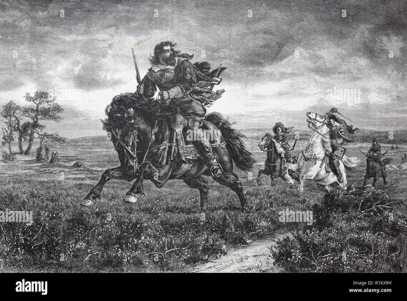 Digital improved reproduction, on life and death. Musketeers hunt a fleeting rider - Stock Image