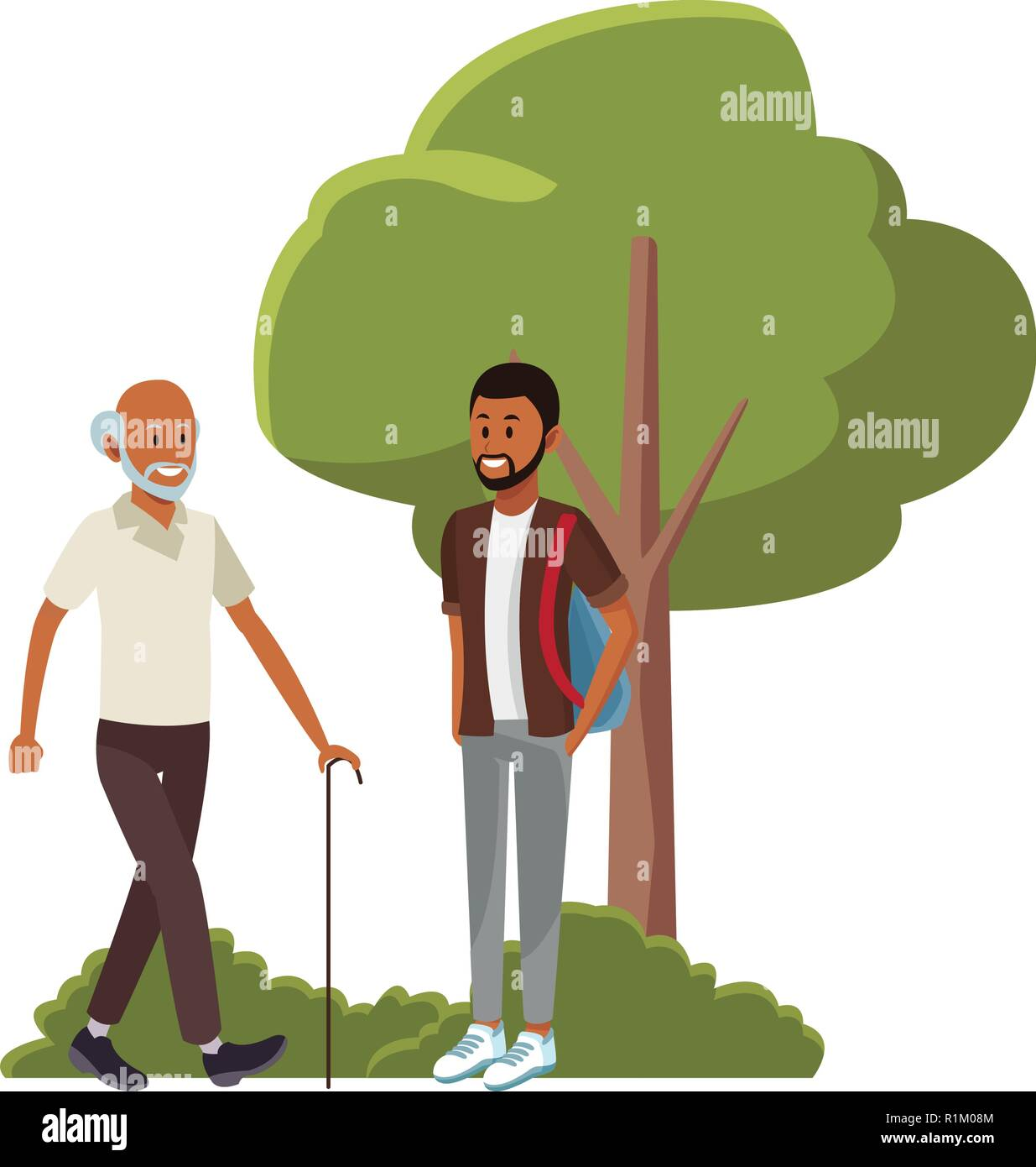 Friends Young Man And Old Man In Front Bush And Tree Cartoon Vector Illustration Graphic Design Stock Vector Image Art Alamy Sticky suit leaf collection system. https www alamy com friends young man and old man in front bush and tree cartoon vector illustration graphic design image224788724 html
